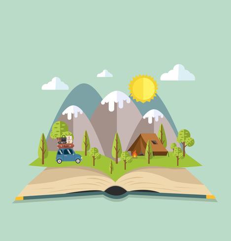 Open boek van Camping Travel vector