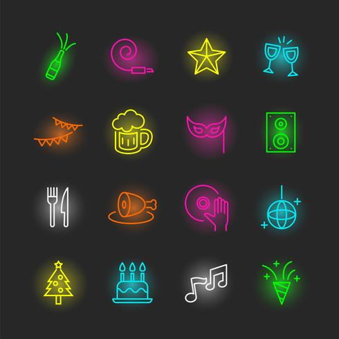 Party Neon Icons Set vektor