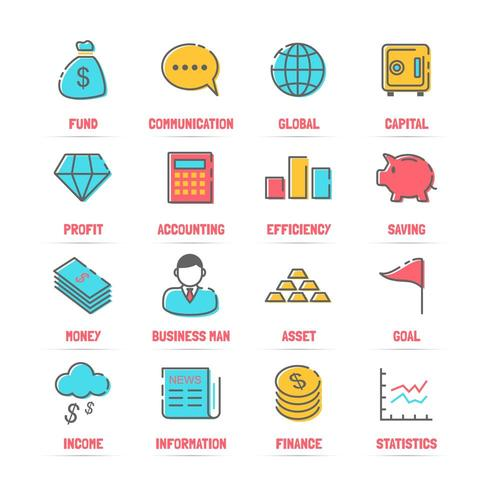 iconos de línea de vector de negocio con colores planos