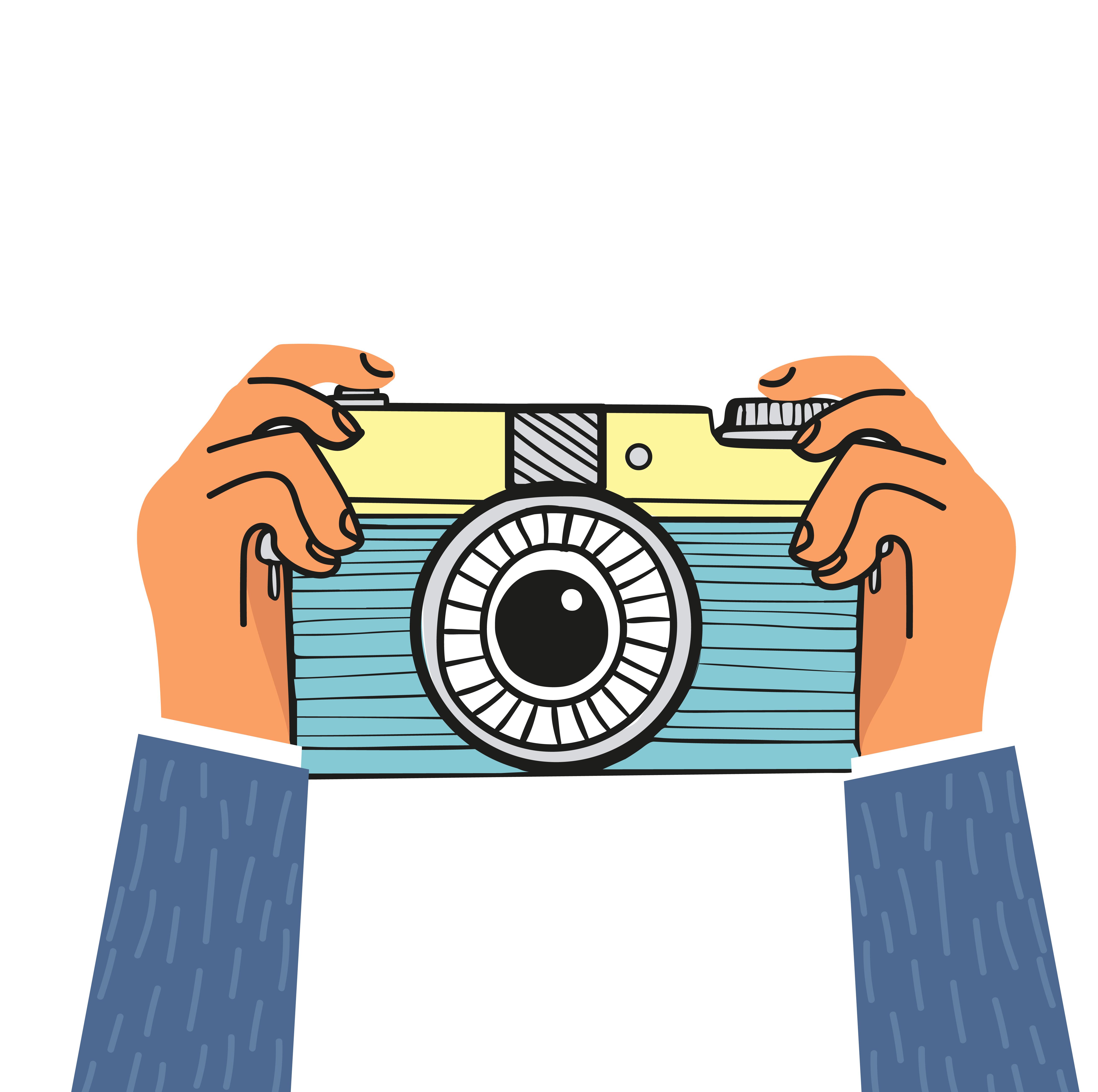Hand Holding Camera Flat Design