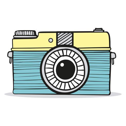 Retro camera doodle hand-drawn