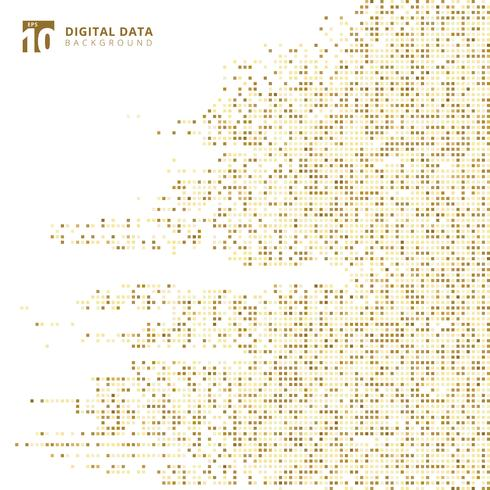 Abstract technology digital data square gold pattern pixel background  vector