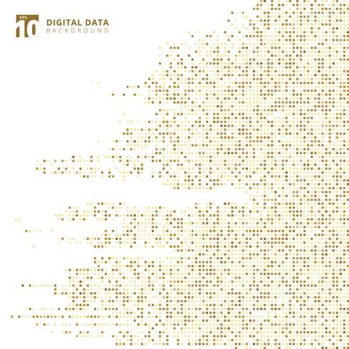 Quadratgoldmuster-Pixelhintergrund der abstrakten digitalen Daten der Technologie