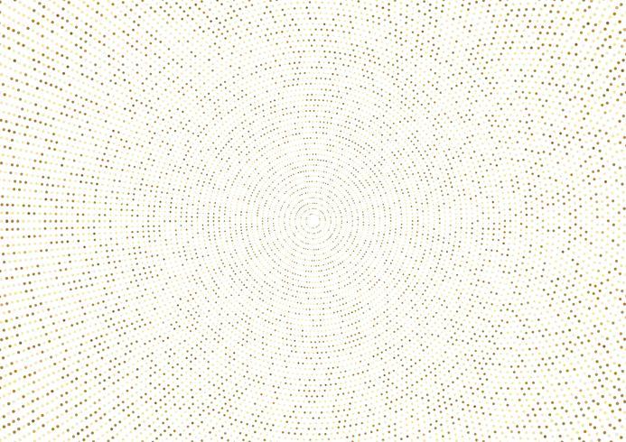 Resumen efecto de semitono dorado brillante con patrón radial de puntos vector