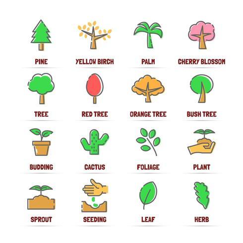 träd vektor linje ikoner med platta färger