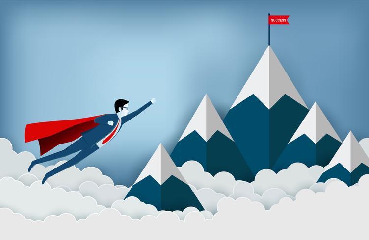uomini d'affari del supereroe che volano verso l'obiettivo della bandiera rossa sulle montagne
