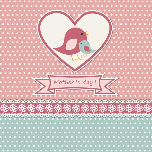 Happy mothers day card with cute birds vector