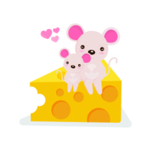 Ratoncito y su madre sentada en un trozo de queso. vector