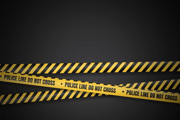 Gul och svart polislinje för varning om farliga områden vektor