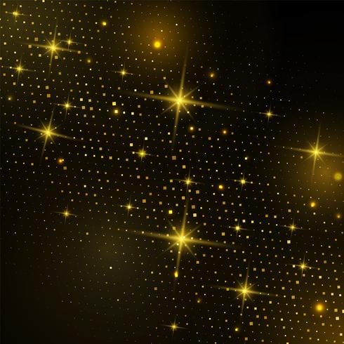 Abstract Gold square Halftone with glittering light on a modern black background