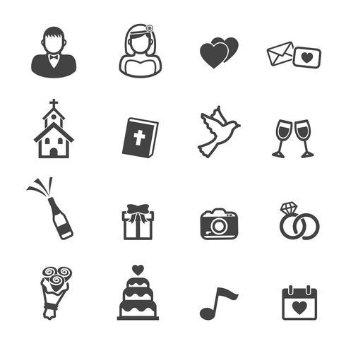 iconos de la ceremonia de boda vector