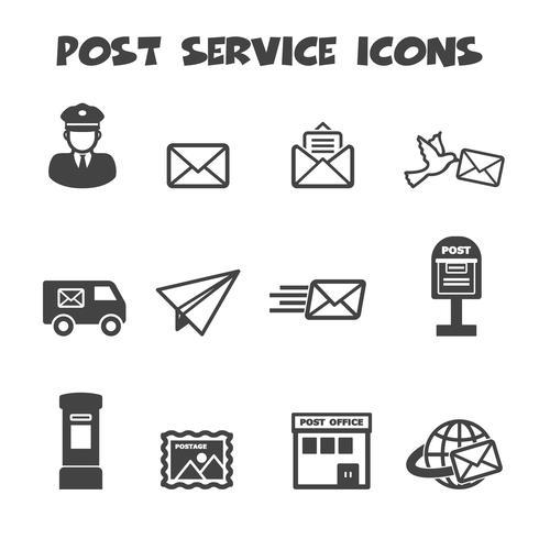 iconos de servicio postal vector