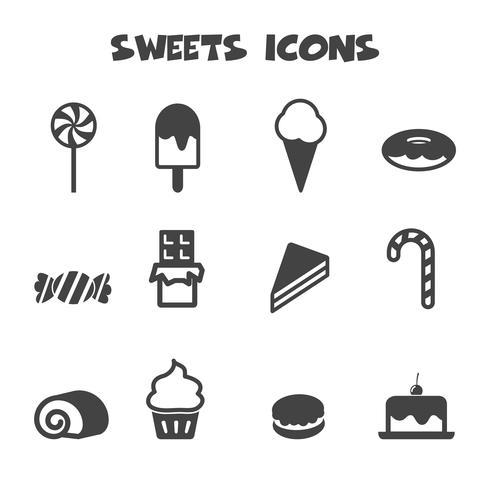 símbolo de ícones de doces vetor