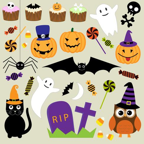 Vector uppsättning Halloween element