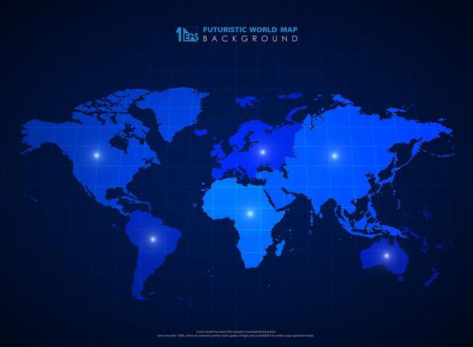 Futuristico sfondo blu mappa del mondo della tecnologia vettore