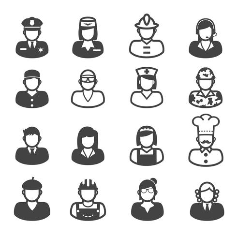 people occupation icons vector