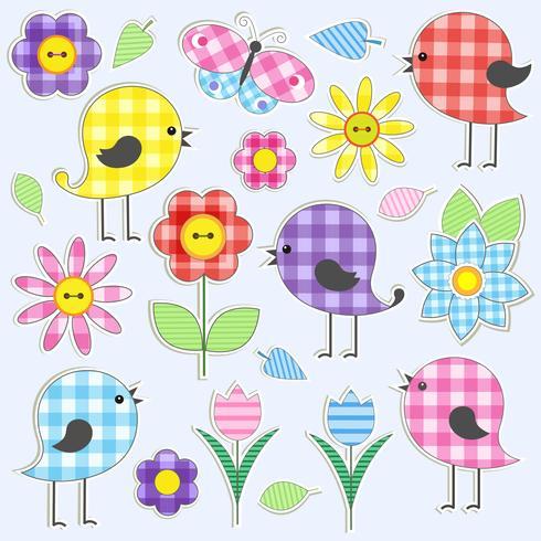 Flores e pássaros bonitos