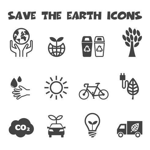sauver les icônes de la terre vecteur
