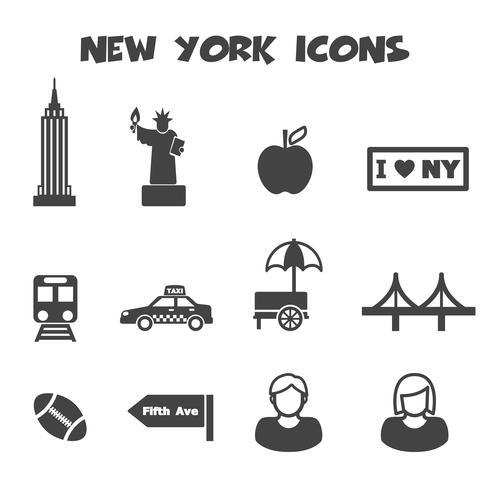 icônes de new york vecteur