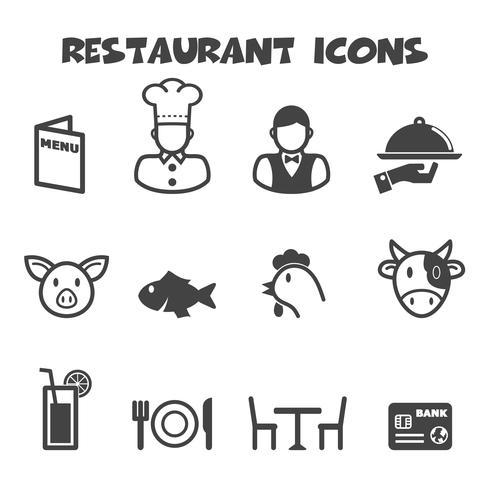 restaurant icons symbol vector