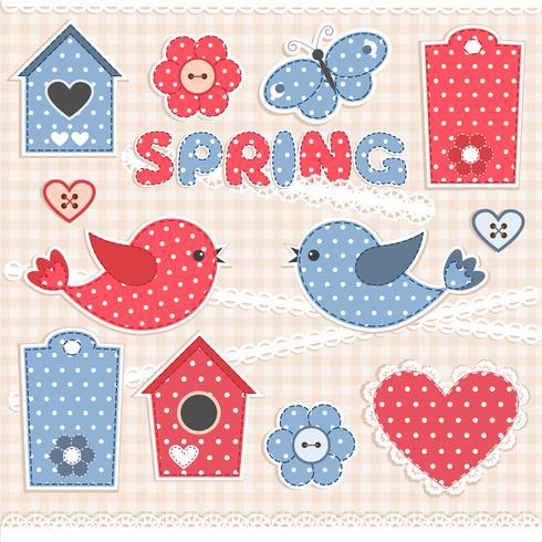 Spring, scrapbook elements vector