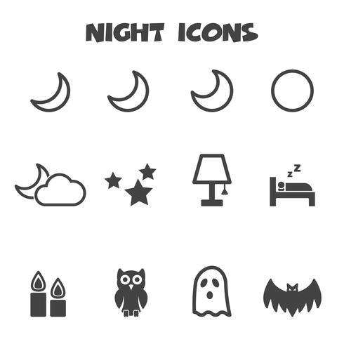 simbolo delle icone di notte