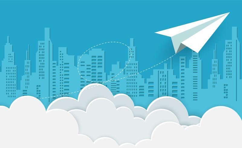 paper airplane white flying on sky between cloud