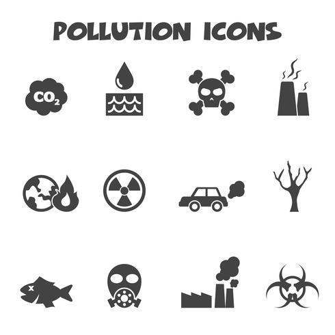 símbolo de los iconos de contaminación