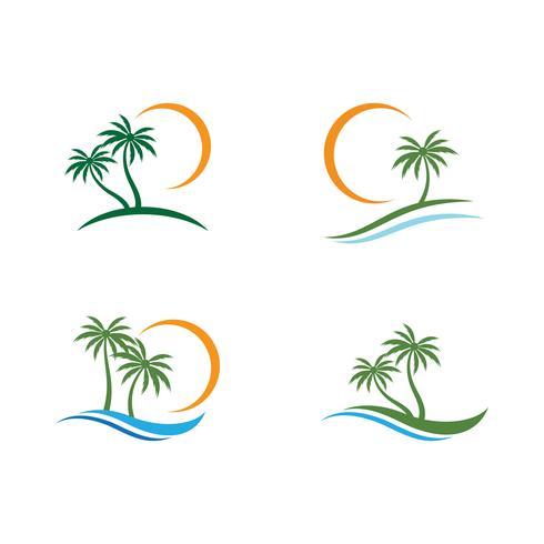 Palm tree summer logo set vector