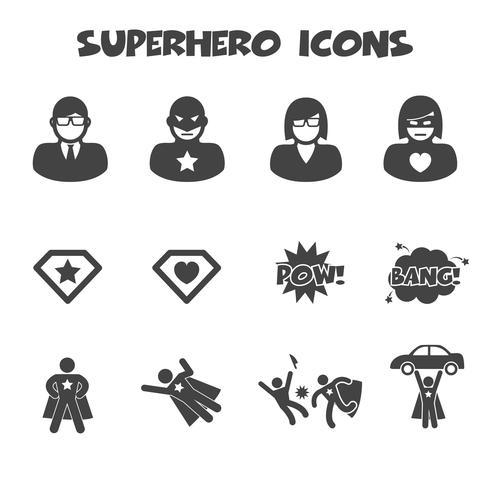 superhero icons symbol vector