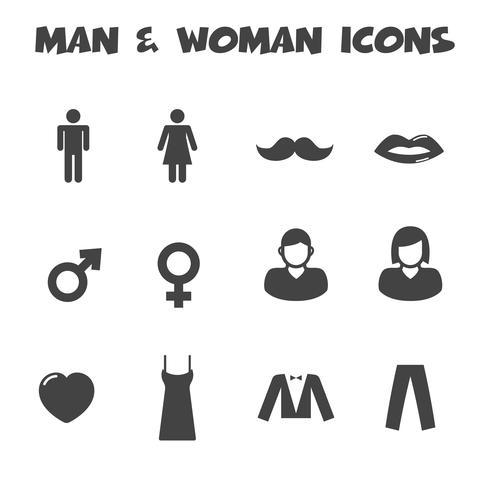 iconos de hombre y mujer vector