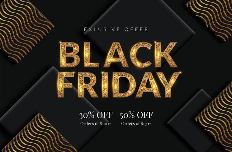 Golden Black Friday Sale background vector