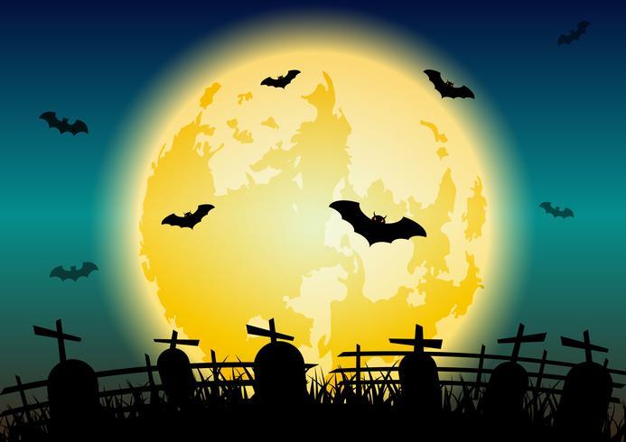 Brillante fondo de luna de halloween con cementerio vector