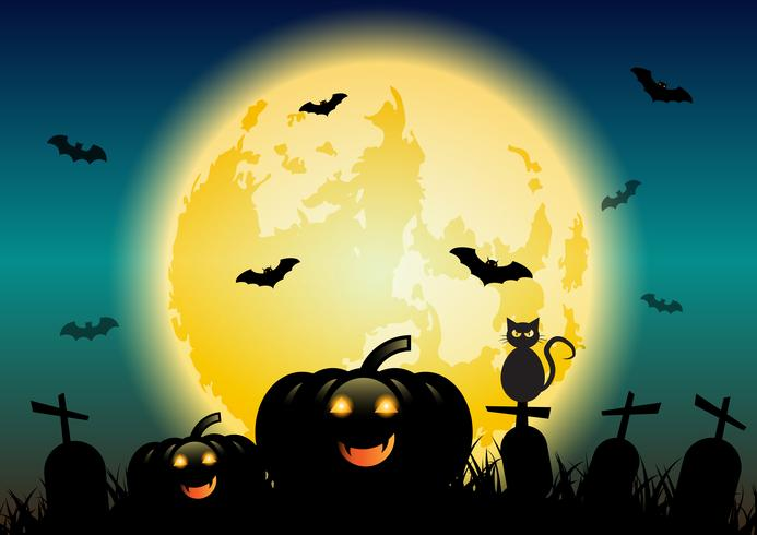 Halloween night background with glowing moon and pumpkins vector