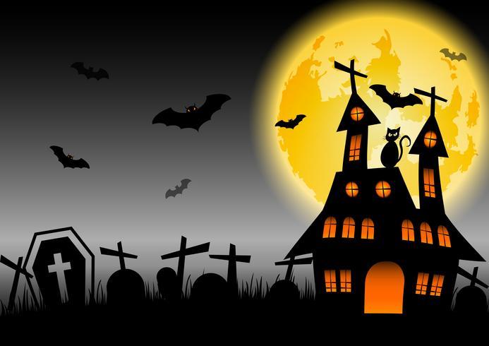 Casa stregata di Halloween con luna incandescente e cimitero