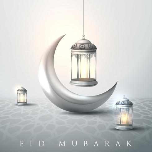Eid Mubarak and Ramadan lanterns vector