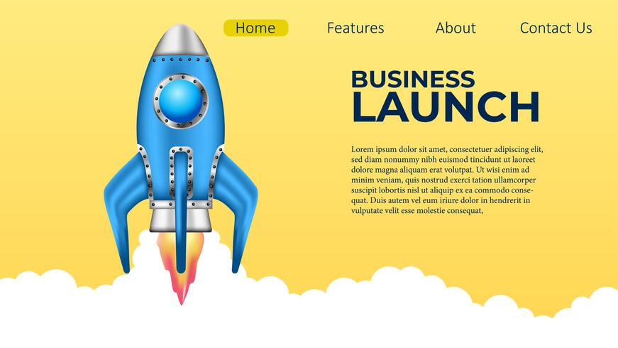 3D rocket launch illustration for landing page with white background