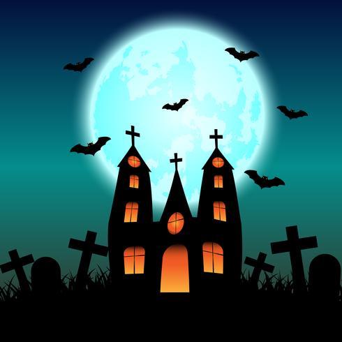 Halloween-spookhuis met gloeiende blauwe maan
