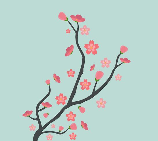 Cute cherry tree background vector