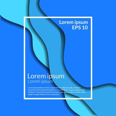 Mestiere blu moderno del taglio della carta di origami dell'onda del fondo di affari