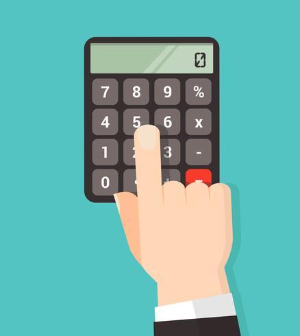 mão usando um botão de calculadora