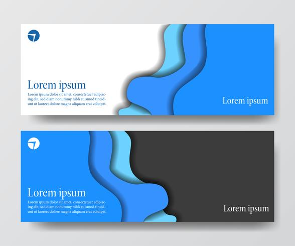 Conjunto de banner de encabezado de negocios azul moderno ola origami papel cortado artesanía vector