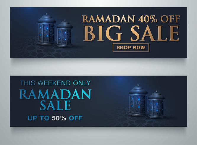 Oferta Especial Venta Ramadán Ornamento Islámico Linterna Luna Plantilla Banner vector