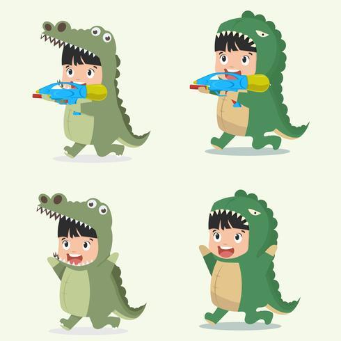 Personagens de criança em fantasias de animais crocodilo vetor