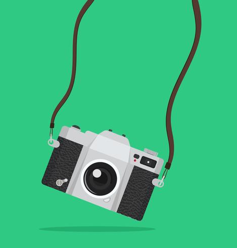 Photography hanging vintage camera  vector