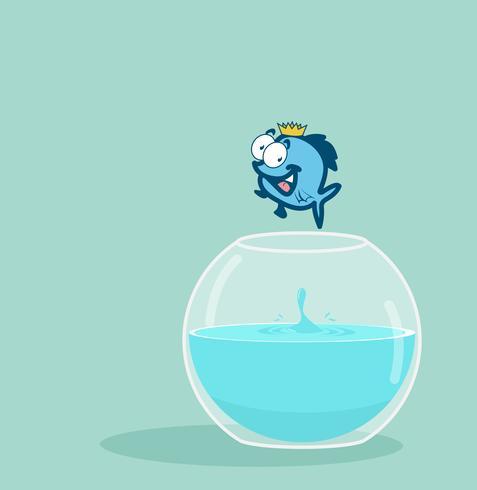 pesce re che salta fuori dall'acquario