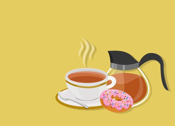 Hora do chá com rosquinha vetor