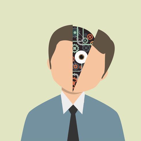 Equipo humano en la cara vector