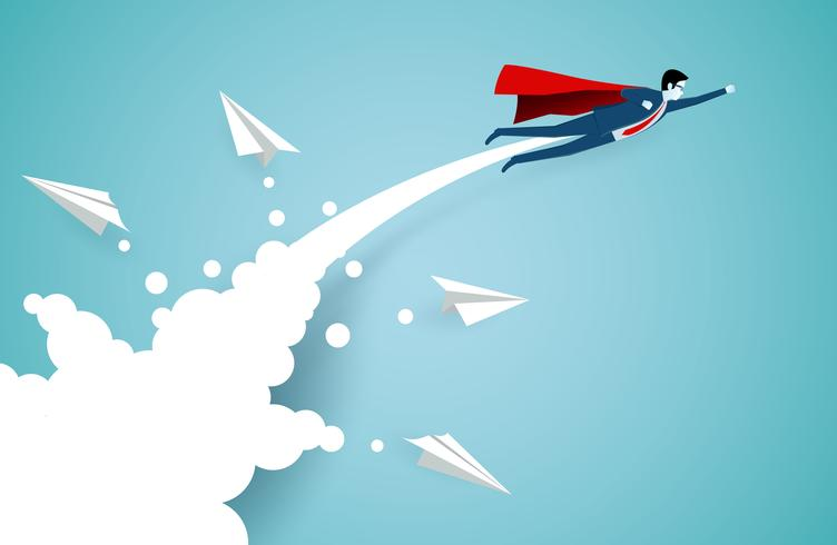 Successful superhero businessmen flying in air through clouds