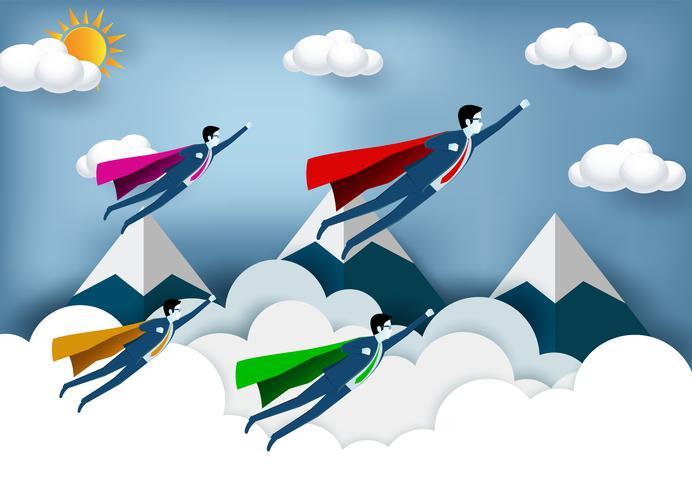 Empresários de super-herói voando com montanhas no fundo